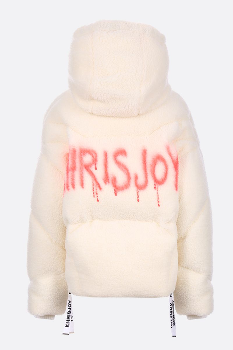 KHRISJOY: Khris oversized faux fur puffer jacket Color White_2