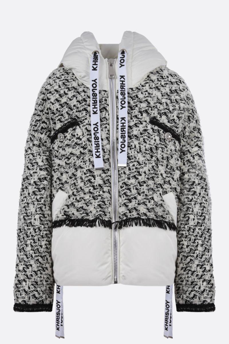 KHRISJOY: Khris oversized tweed and nylon puffer jacket Color Black_1