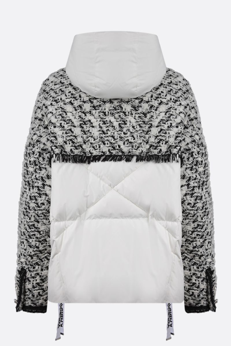 KHRISJOY: Khris oversized tweed and nylon puffer jacket Color Black_2