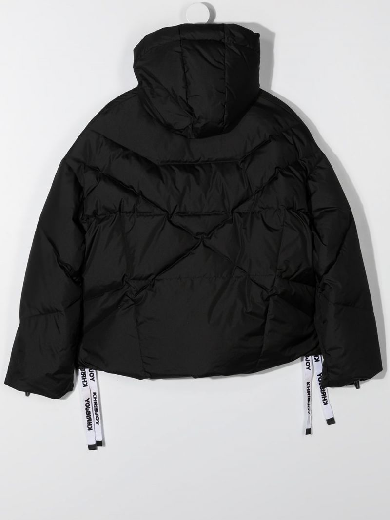 KHRISJOY KIDS: logo-detailed nylon down jacket Color Black_2