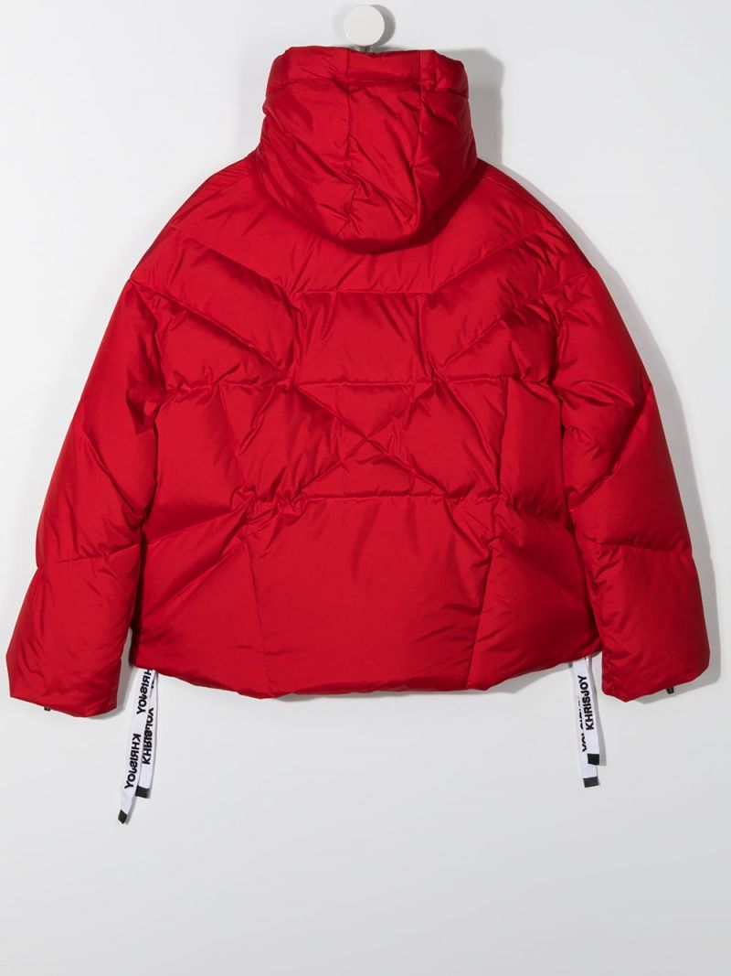KHRISJOY KIDS: logo-detailed nylon down jacket Color Red_2