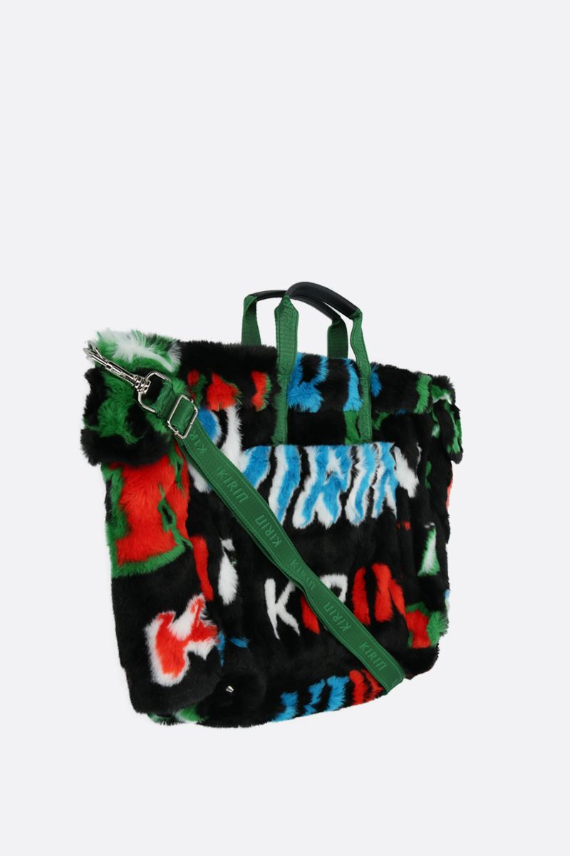 KIRIN: logo print faux fur weekend bag Color Multicolor_2