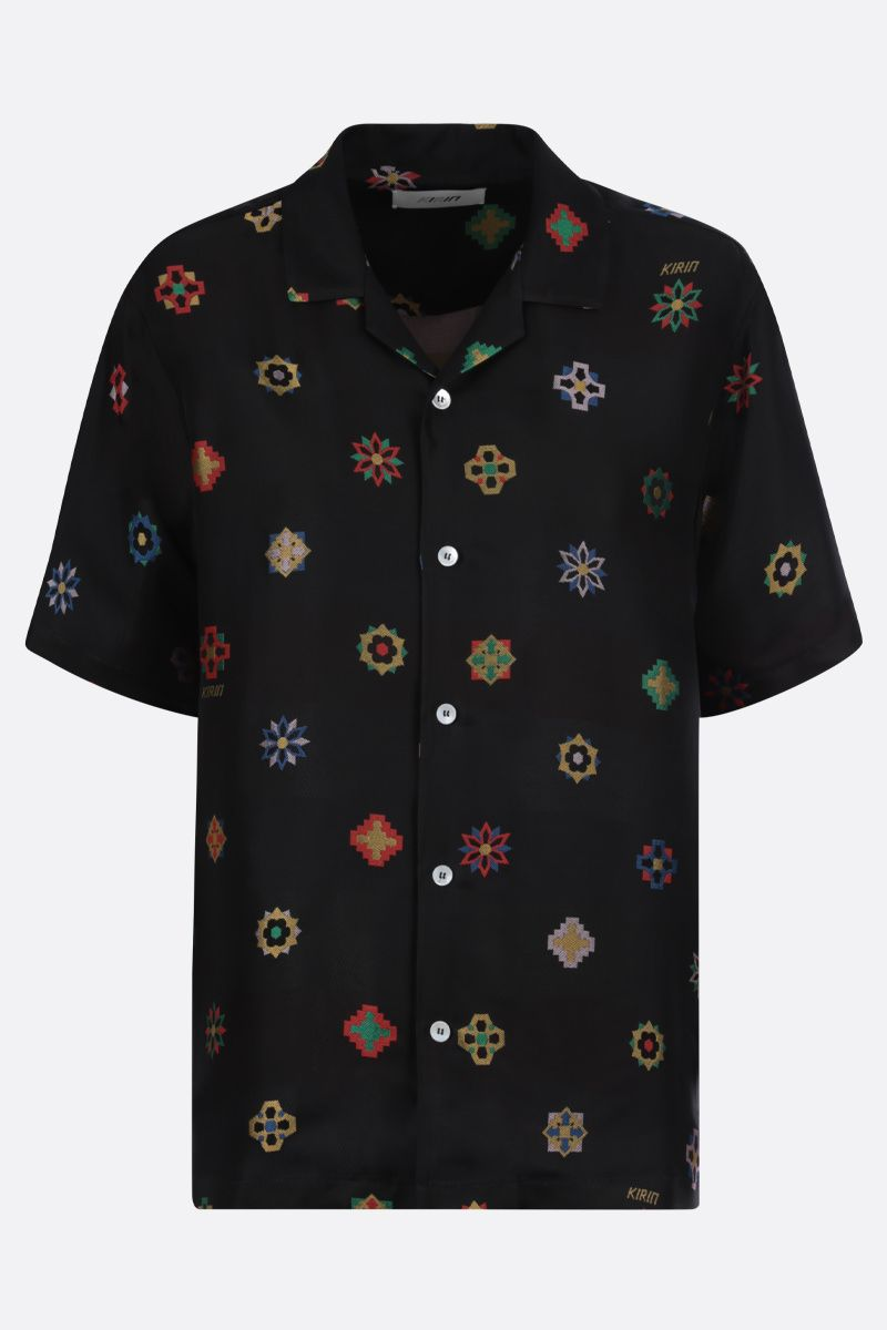 KIRIN: floral jacquard bowling shirt Color Black_1