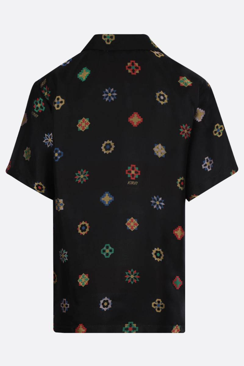 KIRIN: floral jacquard bowling shirt Color Black_2