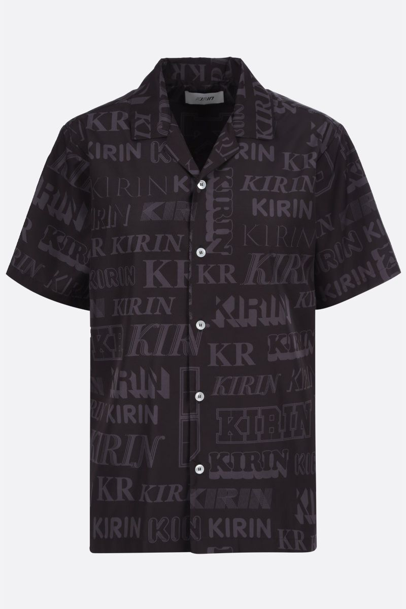KIRIN: logo print nylon bowling shirt Color Black_1