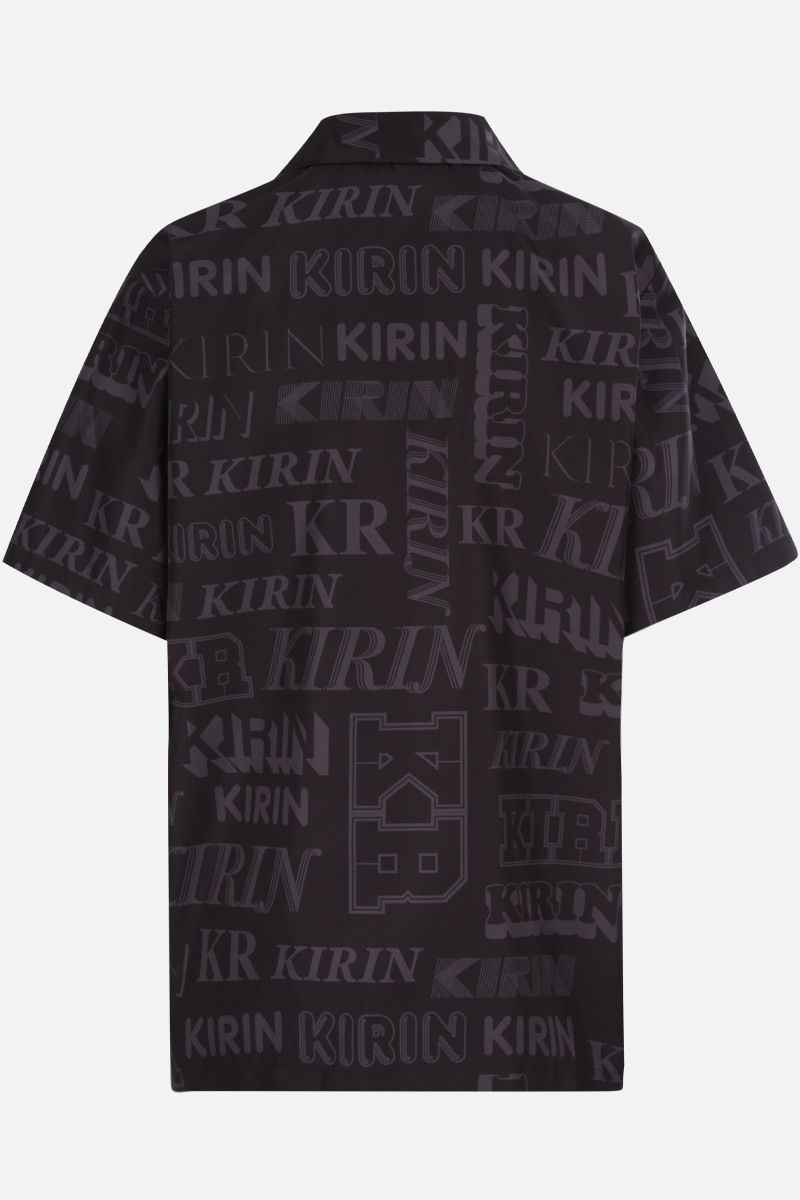 KIRIN: logo print nylon bowling shirt Color Black_2