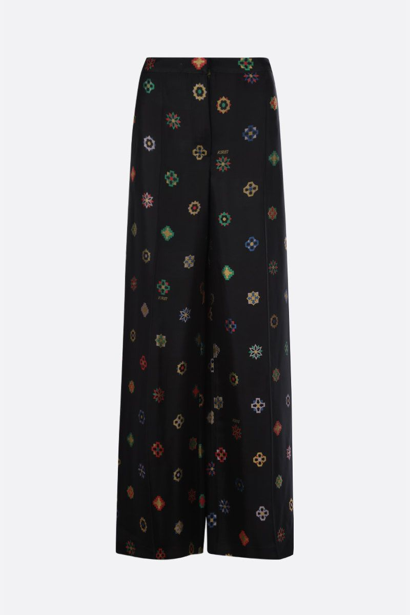 KIRIN: flower jacquard wide-leg pants Color Black_1