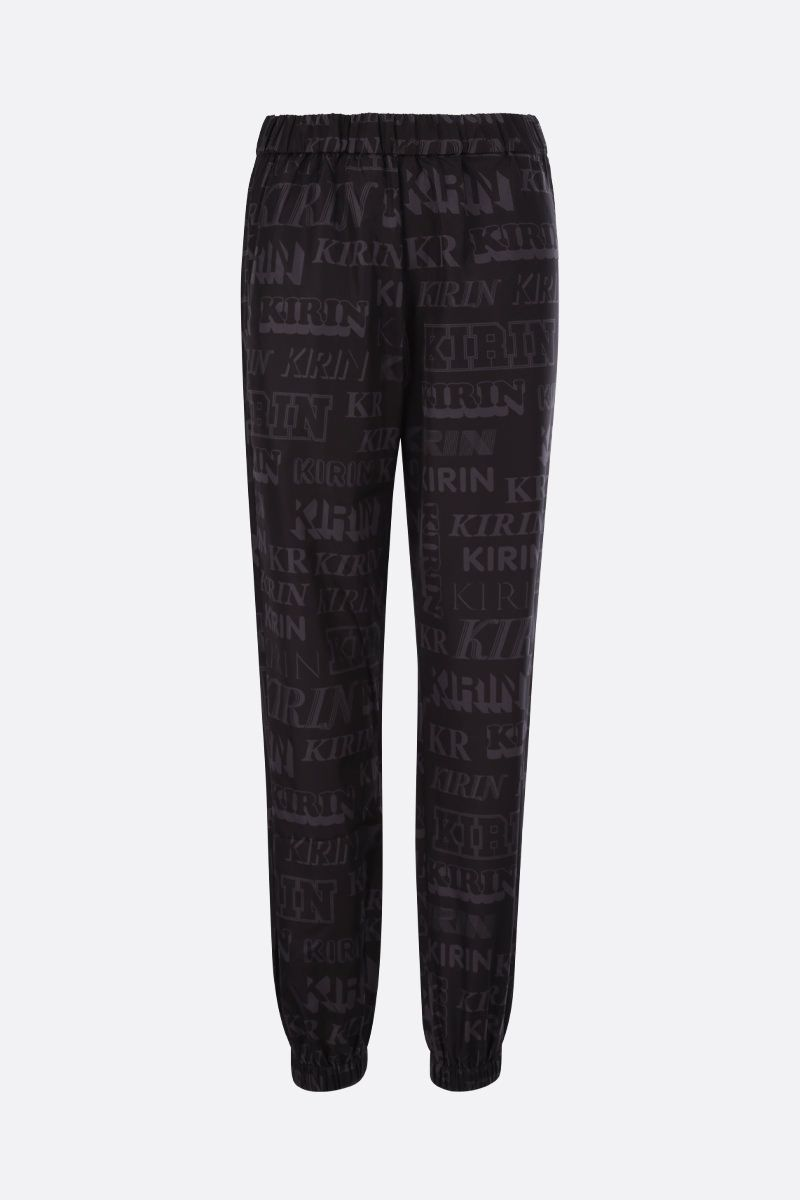 KIRIN: logo print nylon joggers Color Black_1
