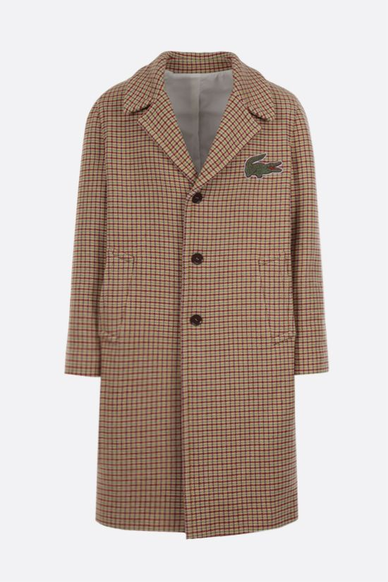 LACOSTE: single-breasted check wool blend coat Color Neutral_1