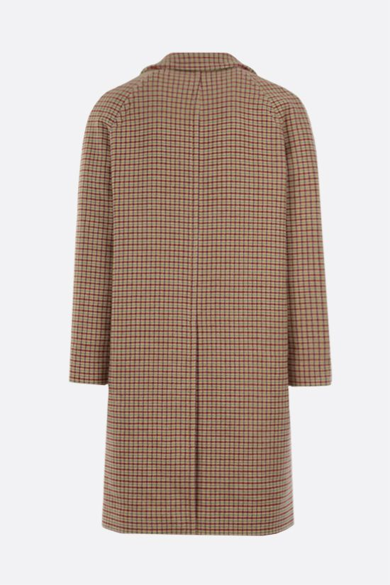 LACOSTE: single-breasted check wool blend coat Color Neutral_2