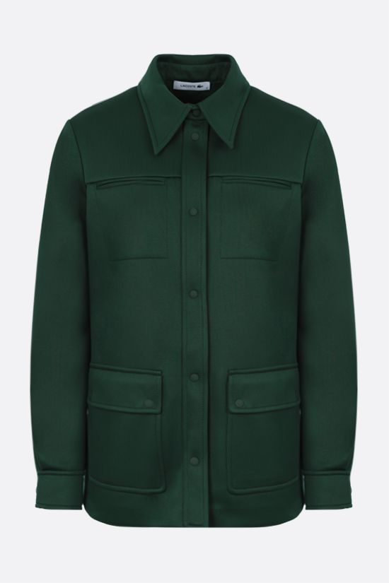 LACOSTE: logo-detailed scuba fabric bush jacket Color Green_1
