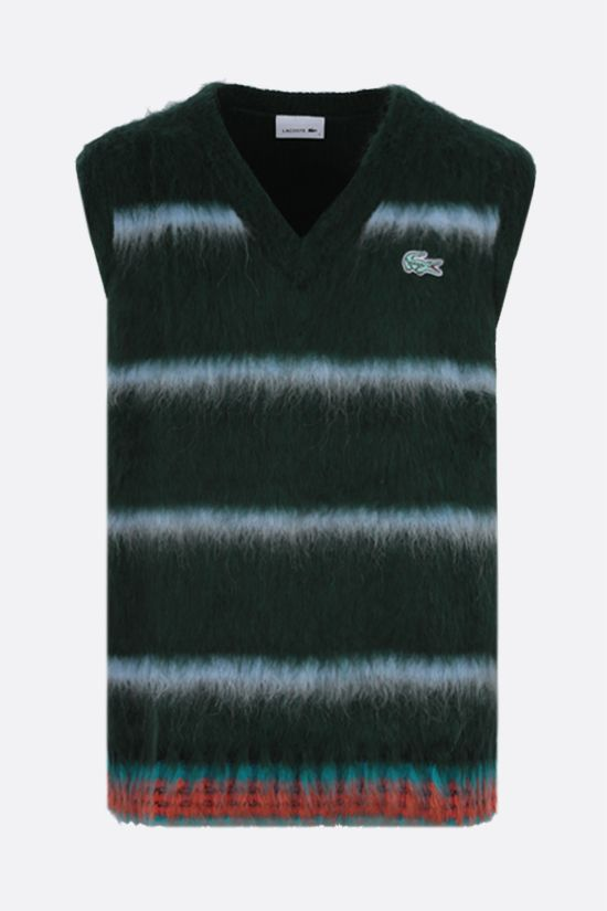 LACOSTE: striped wool alpaca blend sleeveless pullover Color Green_1