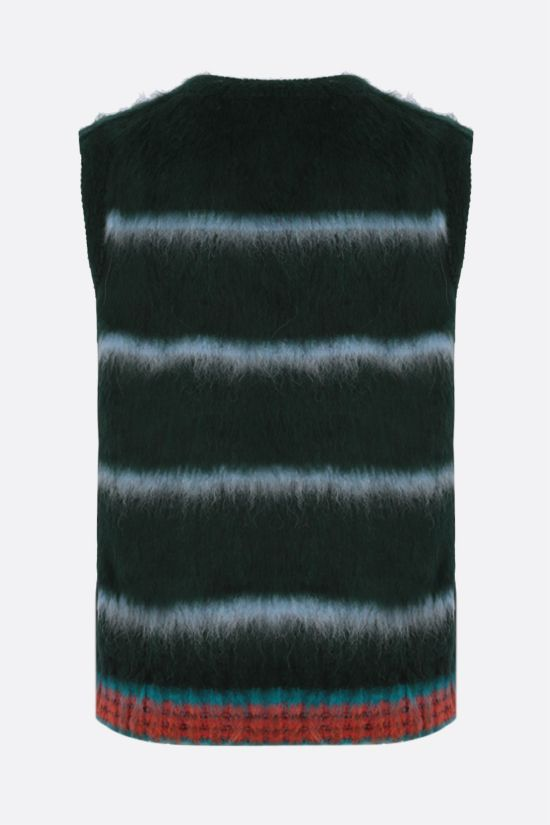 LACOSTE: striped wool alpaca blend sleeveless pullover Color Green_2