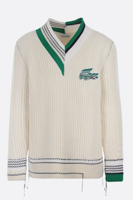 LACOSTE: logo patch ribbed wool pullover Color Multicolor_1