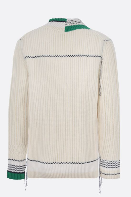 LACOSTE: logo patch ribbed wool pullover Color Multicolor_2