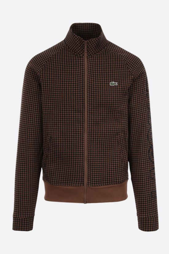 LACOSTE L!VE: houndstooth printed cotton blend full-zip sweatshirt Color Brown_1