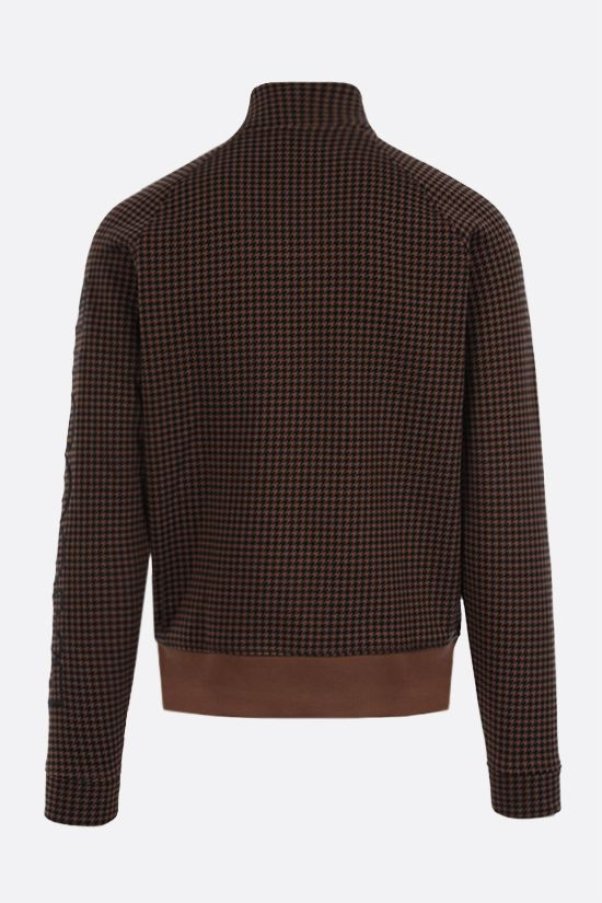 LACOSTE L!VE: houndstooth printed cotton blend full-zip sweatshirt Color Brown_2