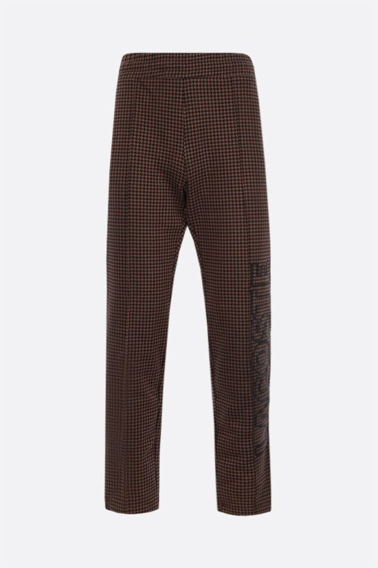 LACOSTE L!VE: houndstooth printed cotton blend joggers Color Brown_1