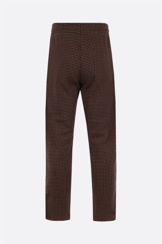 LACOSTE L!VE: houndstooth printed cotton blend joggers Color Brown_2