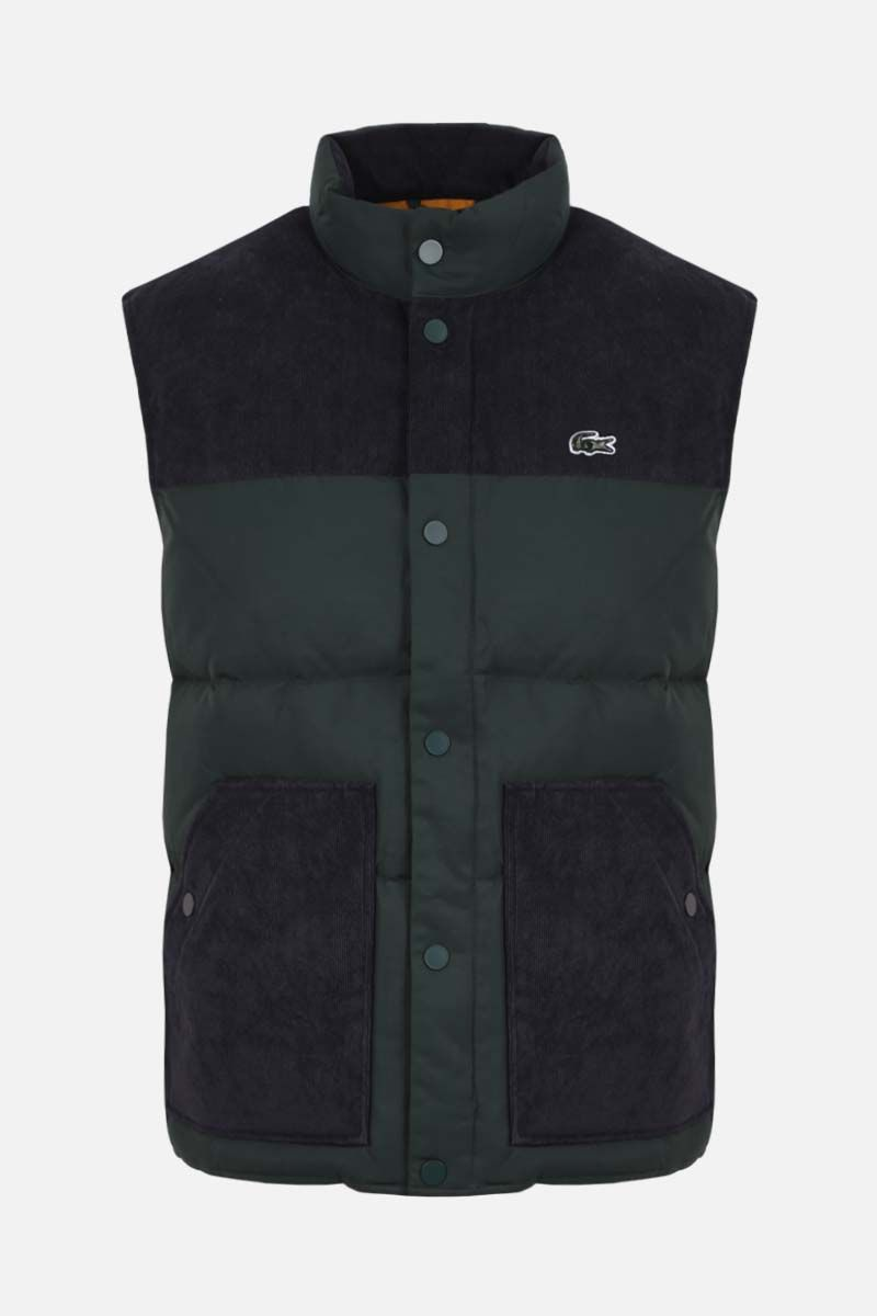 LACOSTE L!VE: gabardine and corduroy sleeveless down jacket Color Green_1
