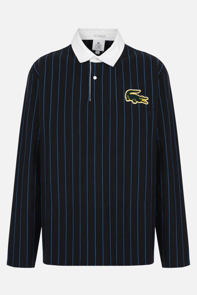 LACOSTE L!VE: long-sleeved striped cotton polo shirt Color Black_1