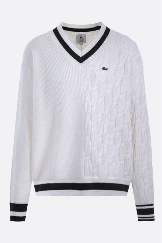 LACOSTE L!VE: logo patch wool blend pullover Color Neutral_1