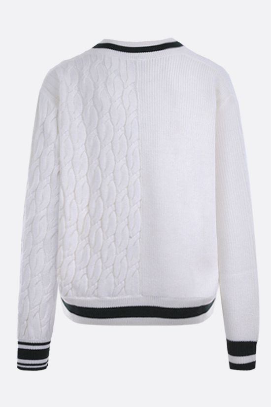 LACOSTE L!VE: logo patch wool blend pullover Color Neutral_2