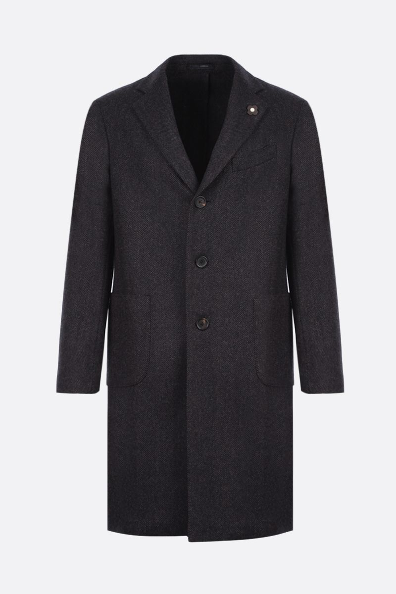 LARDINI: single-breasted herringbone wool coat Color Black_1