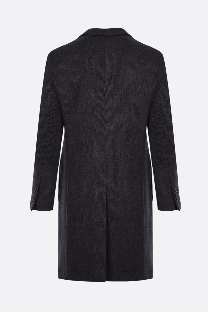 LARDINI: single-breasted herringbone wool coat Color Black_2