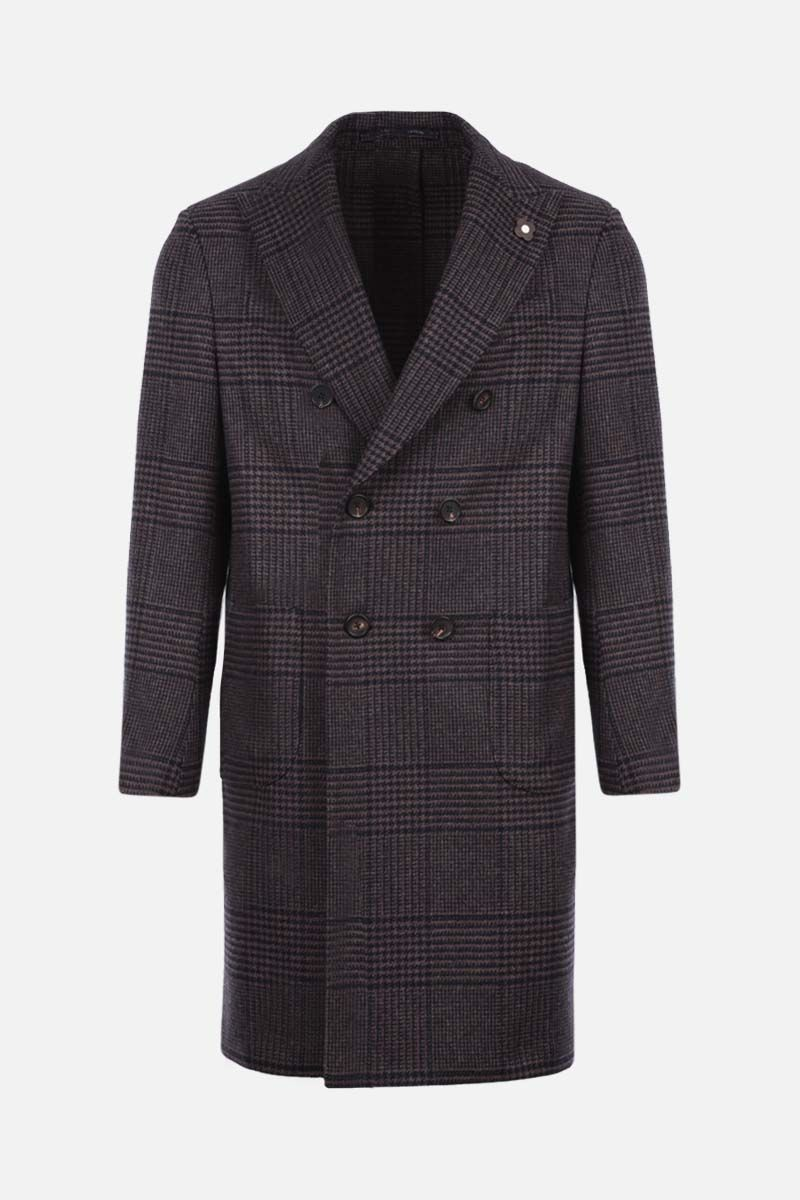 LARDINI: prince of wales double-breasted coat Color Black_1
