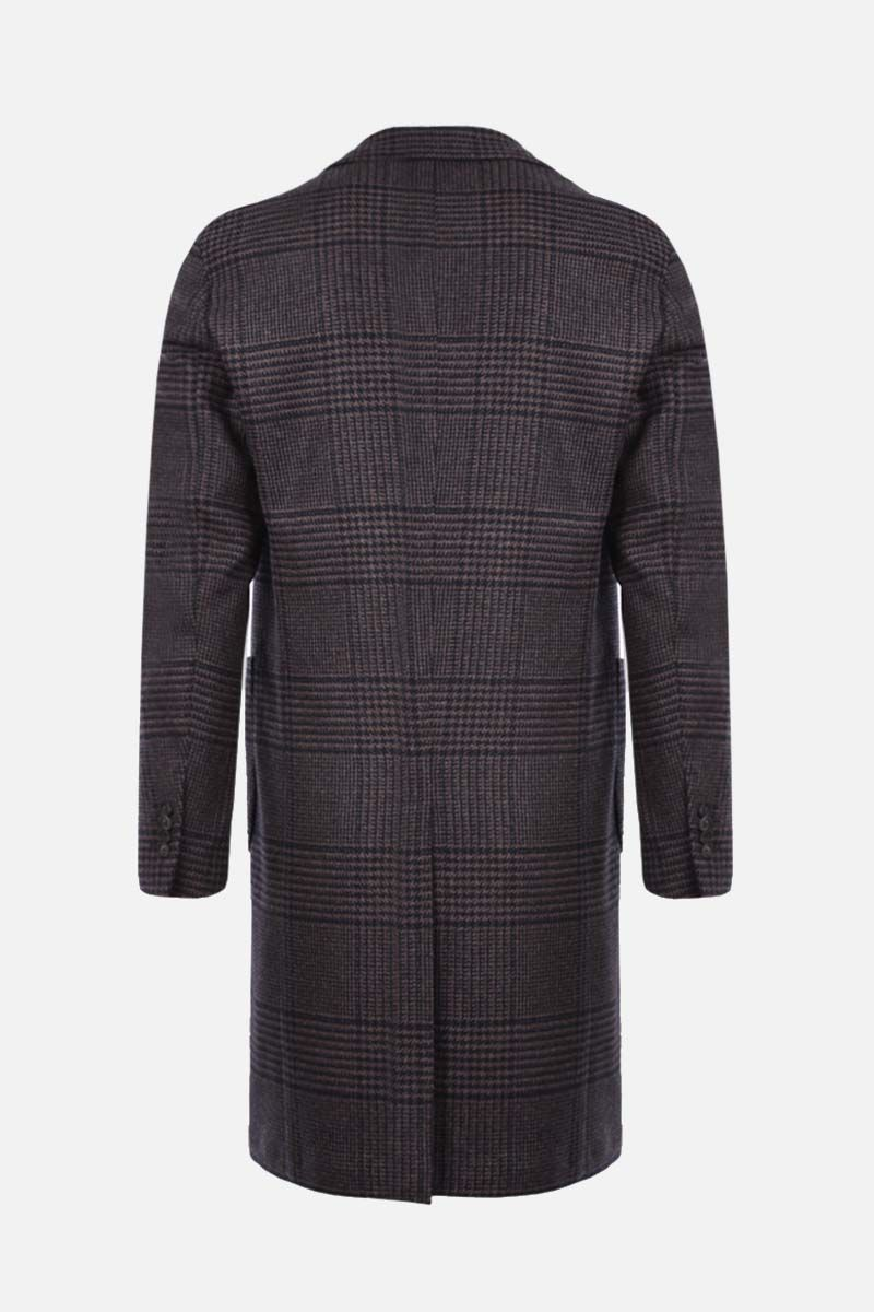 LARDINI: prince of wales double-breasted coat Color Black_2