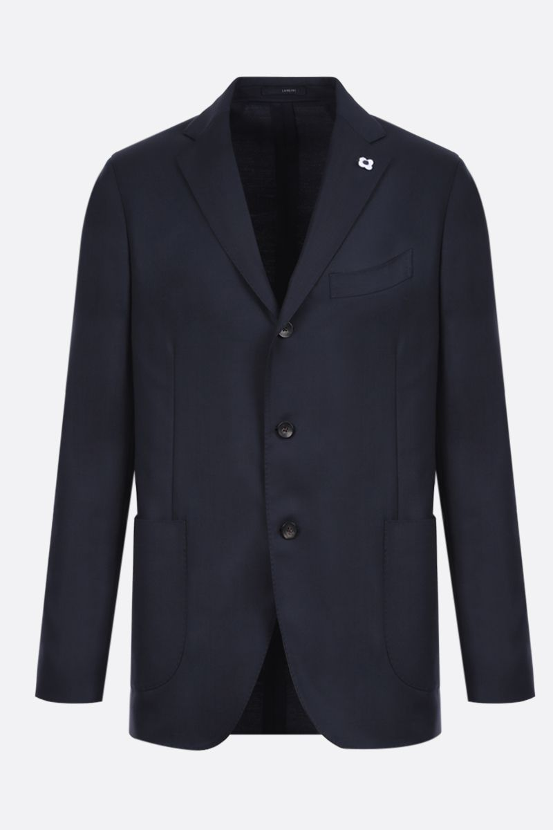 LARDINI: lightweight wool single-breasted jacket Color Blue_1