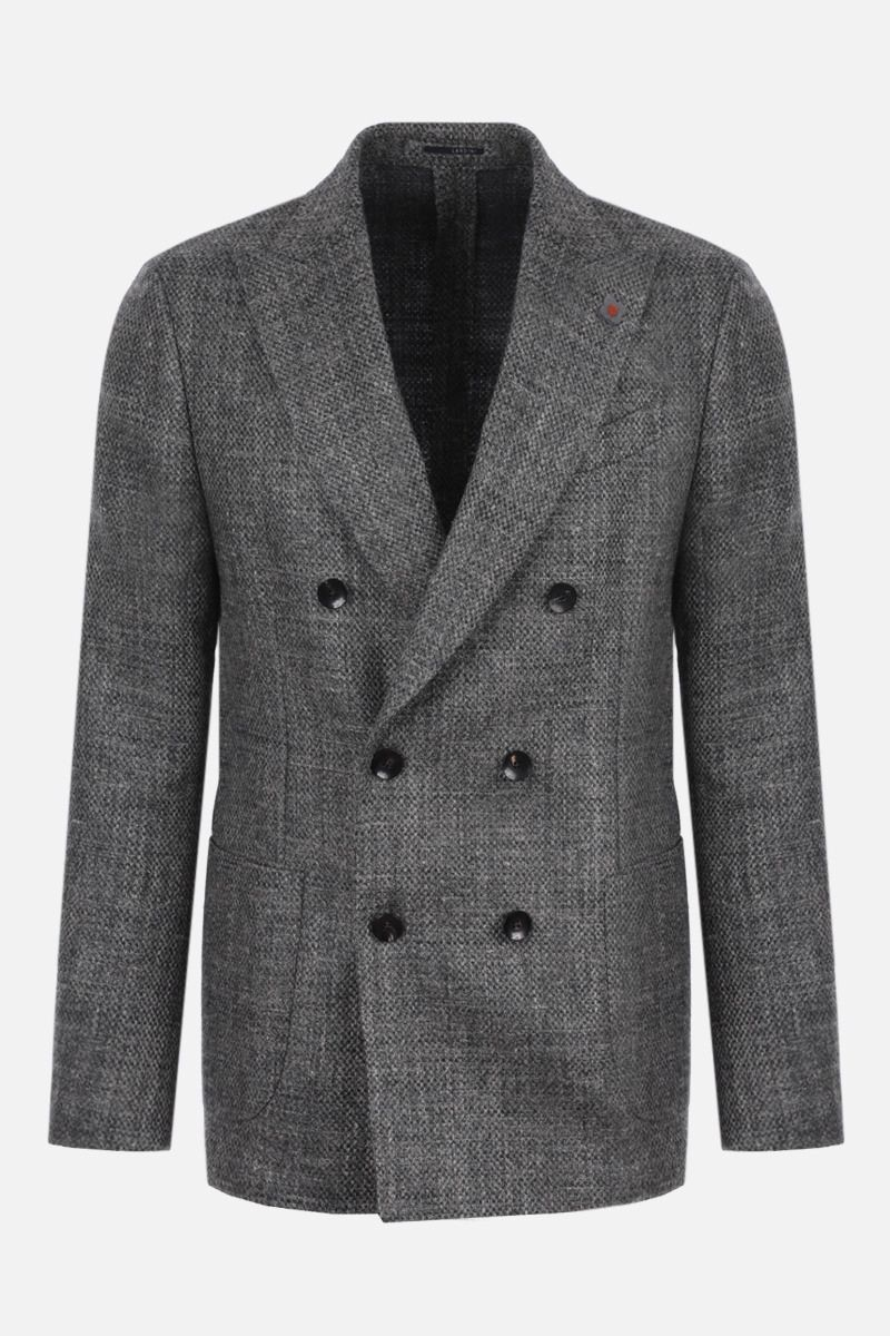 LARDINI: double-breasted wool linen blend jacket Color Grey_1