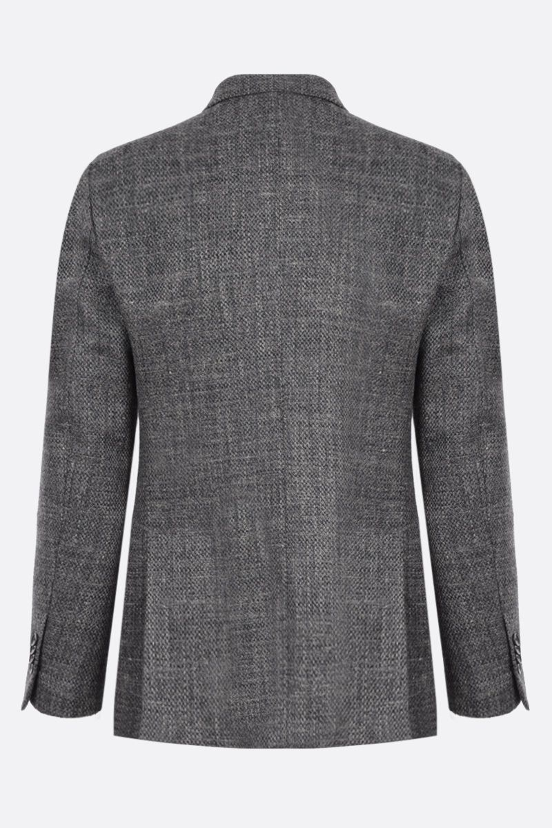 LARDINI: double-breasted wool linen blend jacket Color Grey_2