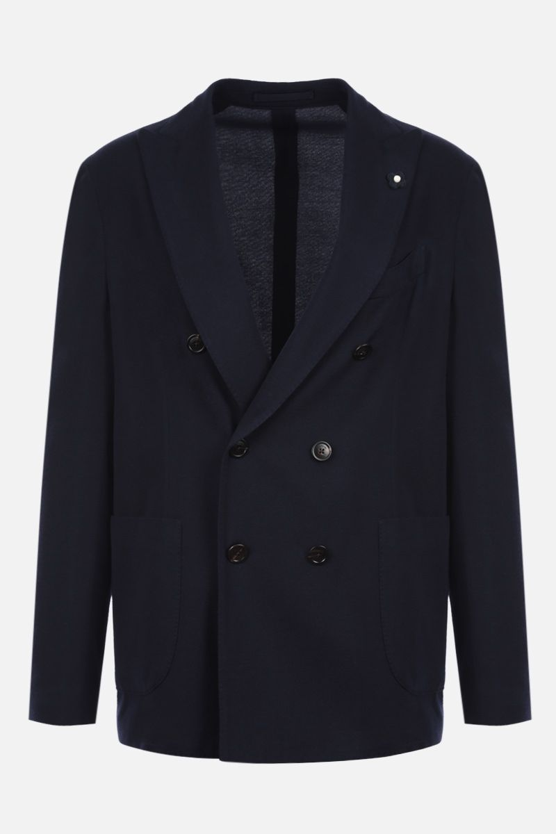 LARDINI: tech wool double-breasted jacket Color Blue_1