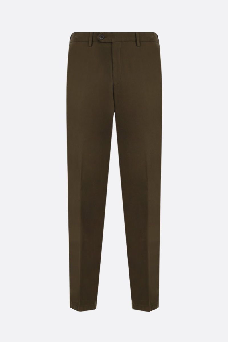LARDINI: cotton gabardine slim-fit pants Color Brown_1