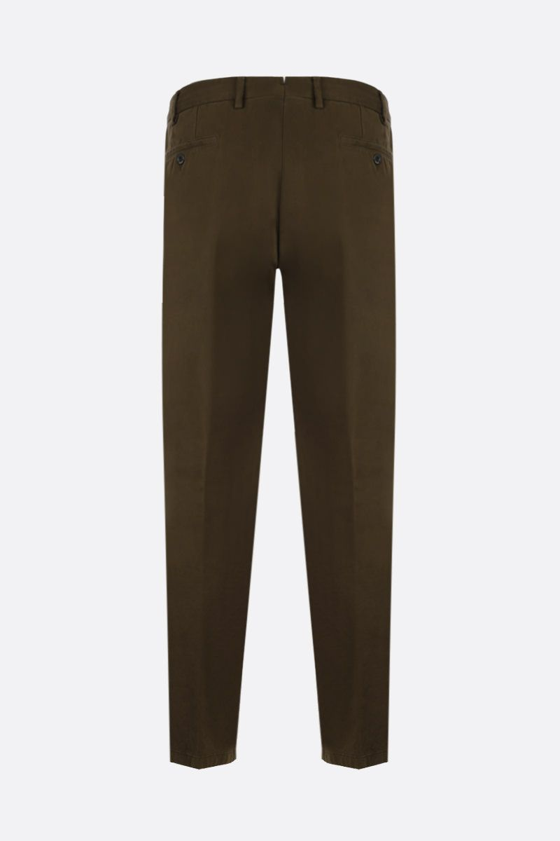 LARDINI: cotton gabardine slim-fit pants Color Brown_2
