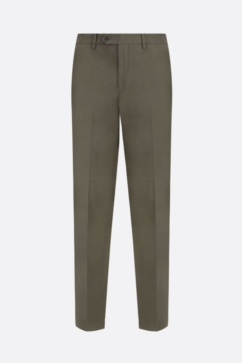 LARDINI: cotton gabardine slim-fit pants Color Green_1