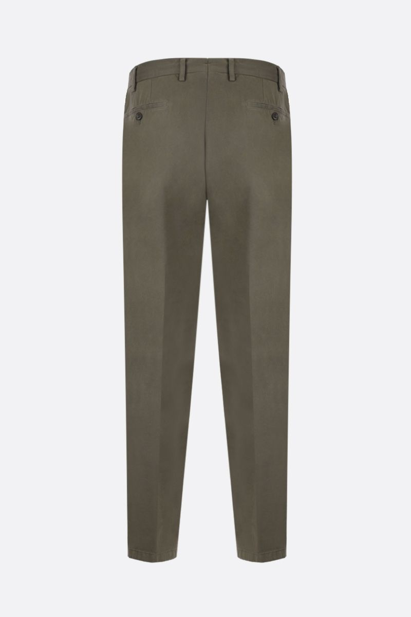 LARDINI: cotton gabardine slim-fit pants Color Green_2