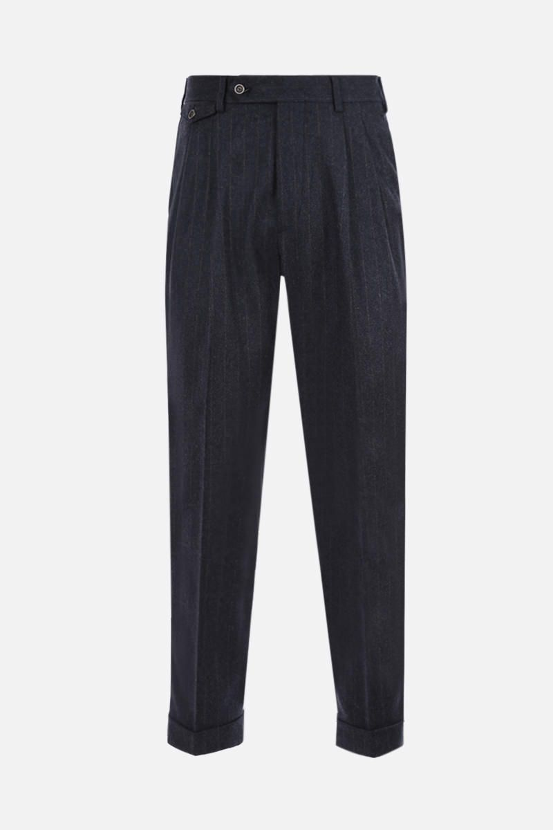 LARDINI: pinstriped wool blend darted pants Color Grey_1