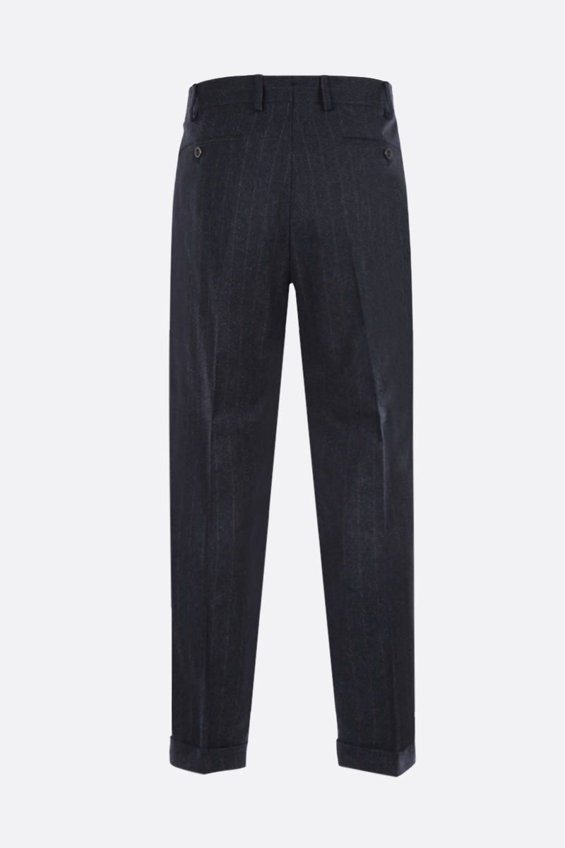 LARDINI: pinstriped wool blend darted pants Color Grey_2