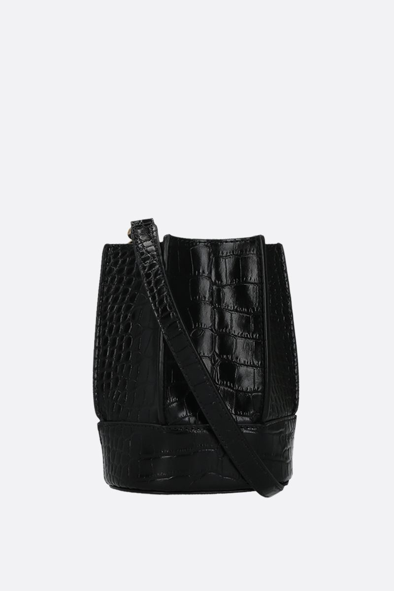 LOEUVRE: Sac de Lumière mini crocodile embossed leather bucket bag Color Black_1