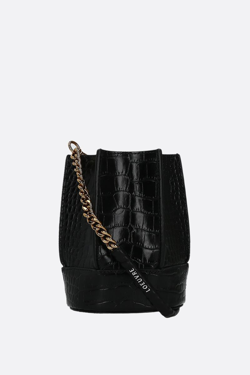 LOEUVRE: Sac de Lumière mini crocodile embossed leather bucket bag Color Black_2