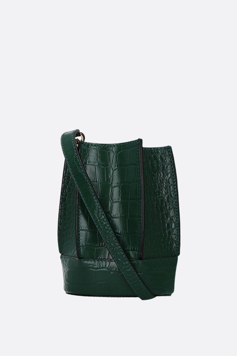 LOEUVRE: Sac de Lumière mini crocodile embossed leather bucket bag Color Green_1