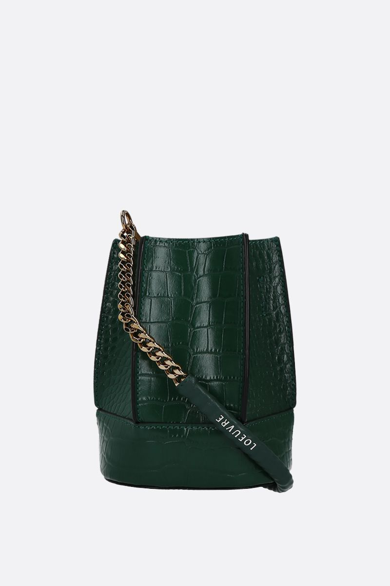 LOEUVRE: Sac de Lumière mini crocodile embossed leather bucket bag Color Green_2