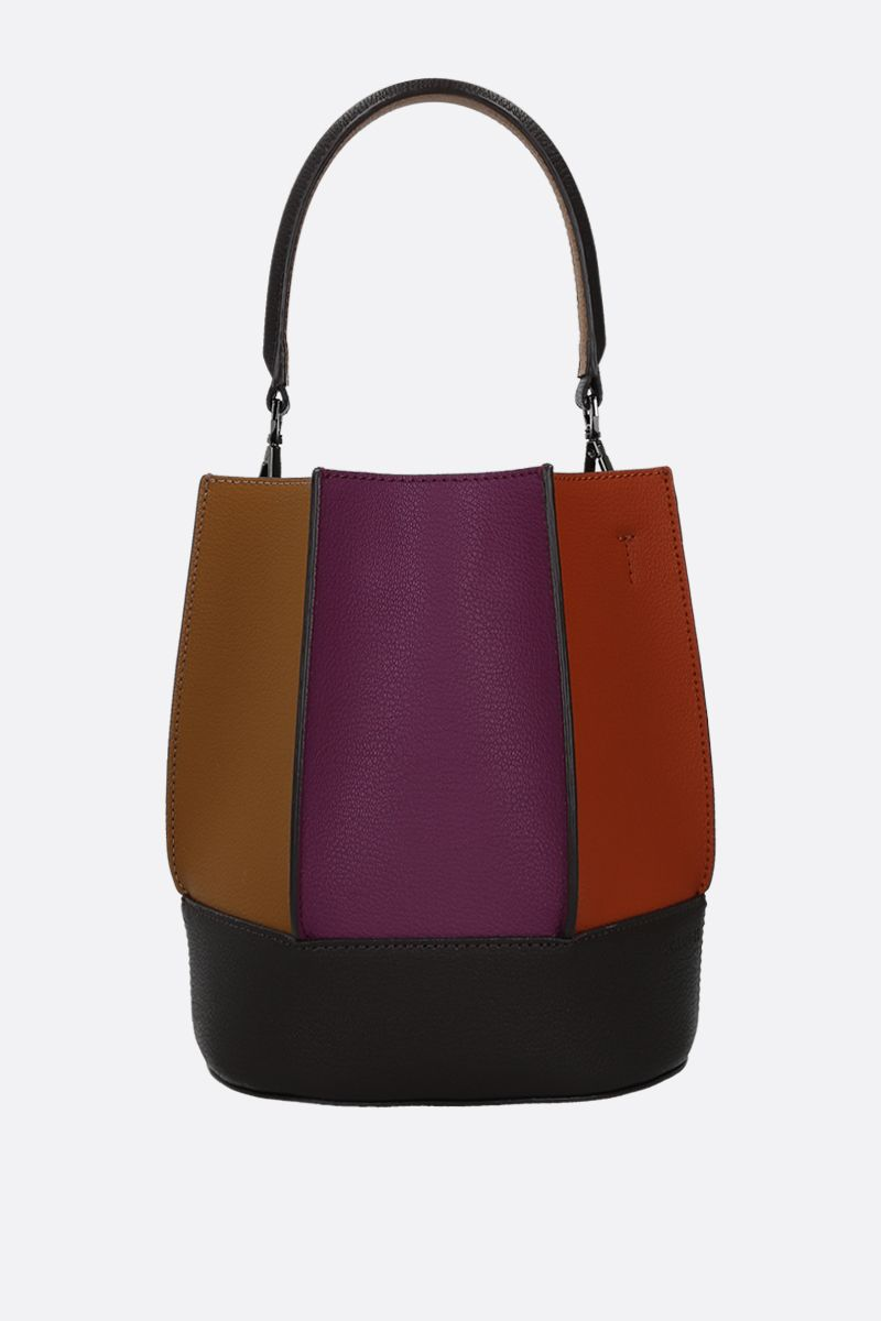 LOEUVRE: Sac de Lumière grainy leather bucket bag Color Multicolor_1