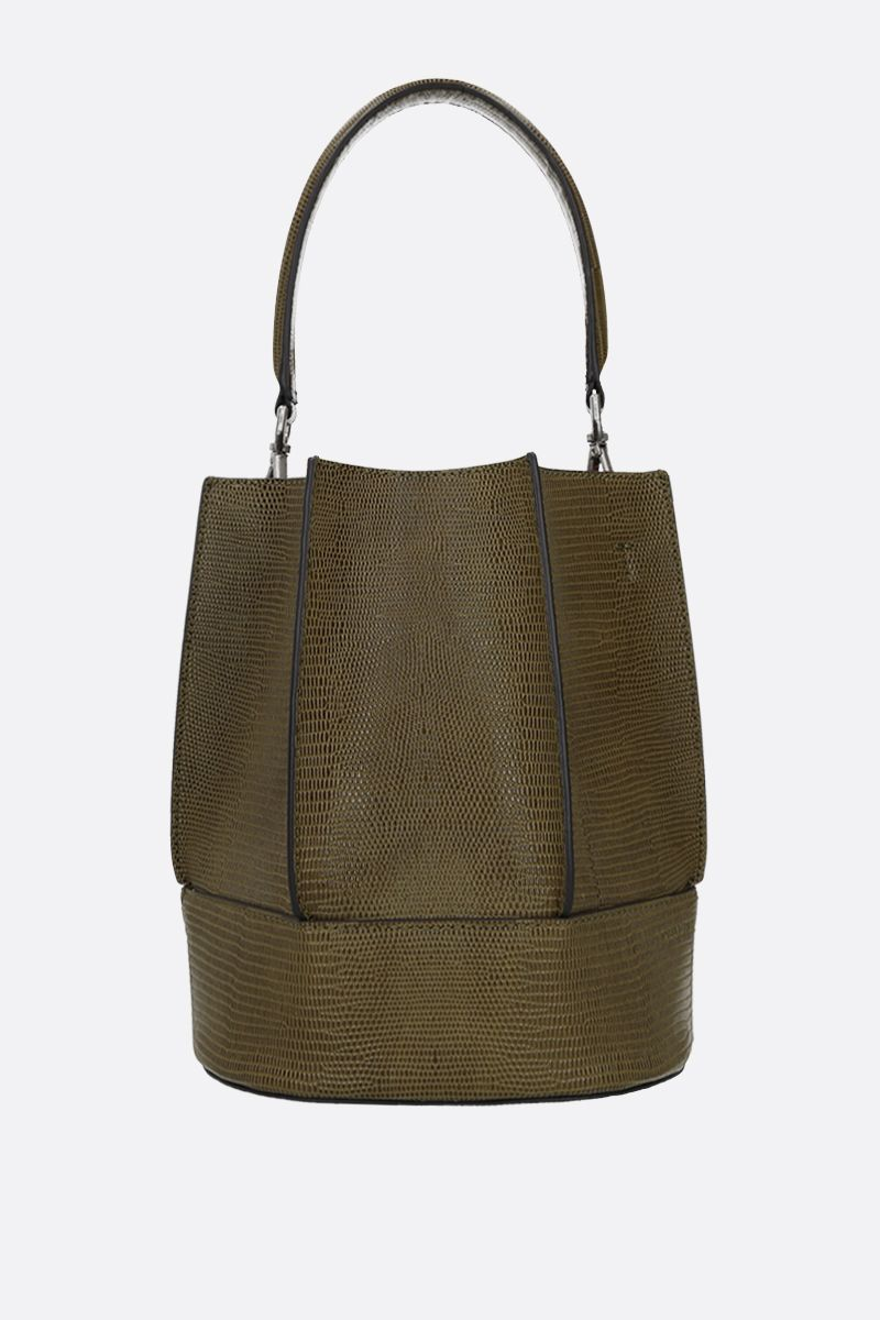 LOEUVRE: Sac de Lumière lizard embossed leather bucket bag_1