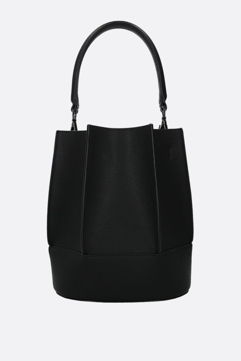 LOEUVRE: Sac de Lumière grainy leather bucket bag Color Black_1