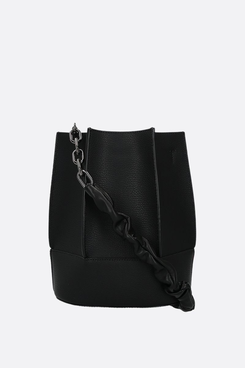 LOEUVRE: Sac de Lumière grainy leather bucket bag Color Black_2