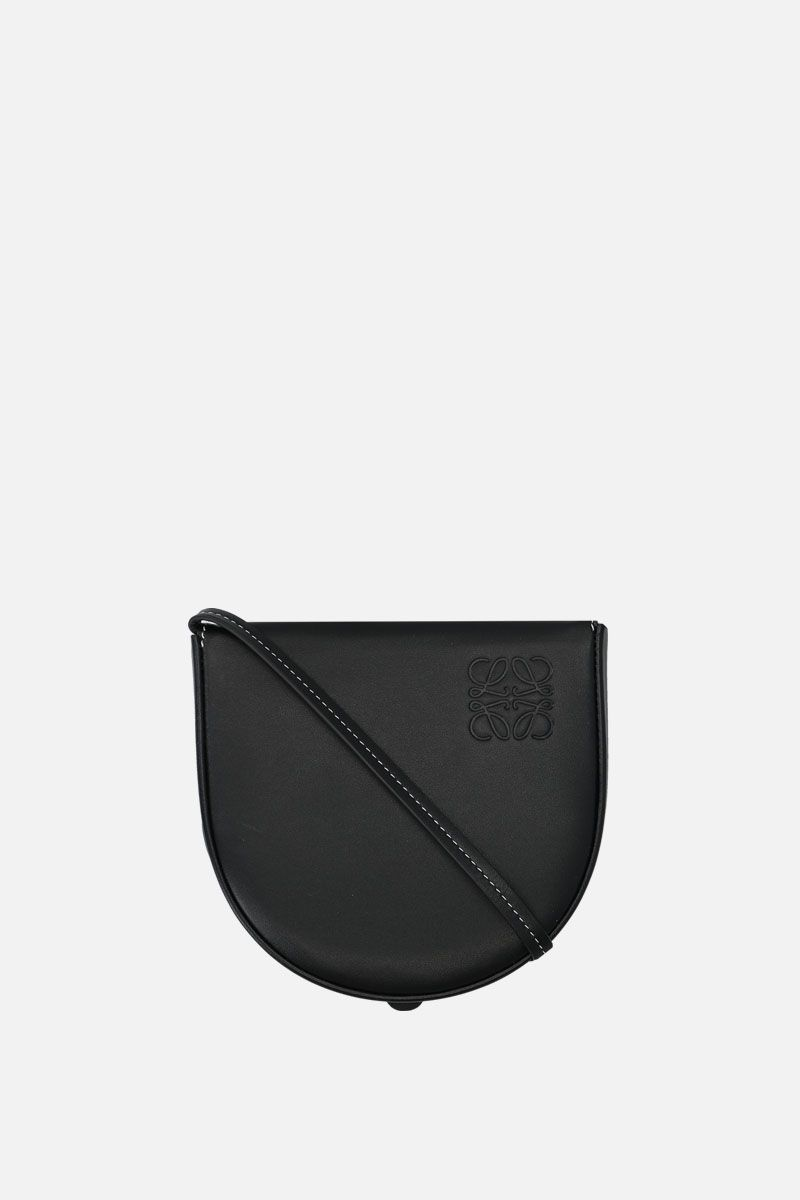 LOEWE: Heel small smooth leather strap pouch Color Black_1